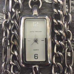 Sofia Vergara bracket watch, silver.